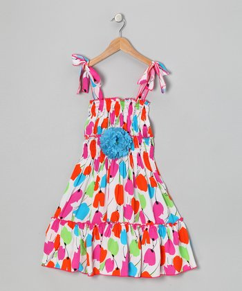 Red & Green Daisy Dress - Toddler & Girls
