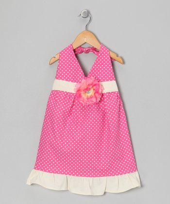 Pink Polka Dot Daisy Halter Dress - Toddler