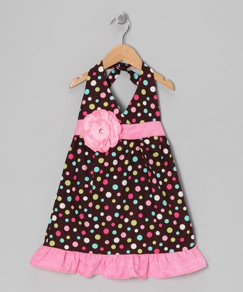 Brown Ice Cream Daisy Halter Dress - Toddler