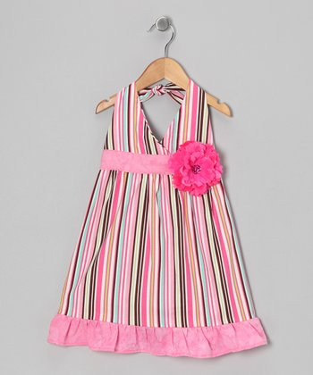 Pink Ice Cream Stripe Daisy Halter Dress - Toddler