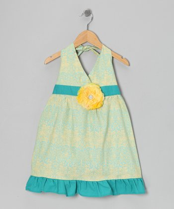 Aqua Blue & Yellow Daisy Halter Dress - Toddler & Girls