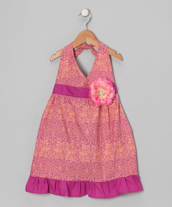Peach & Berry Daisy Halter Dress - Toddler & Girls