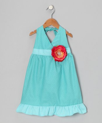 Aqua Blue & Red Daisy Halter Dress - Toddler & Girls