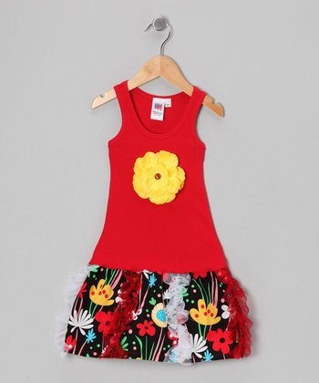 Red & Black Garden Ruffle Dress - Toddler & Girls