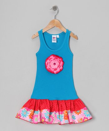 Blue & Red Polka Dot Floral Garden Dress - Toddler & Girls