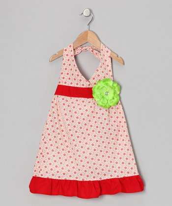 White & Red Daisy Halter Dress - Toddler & Girls