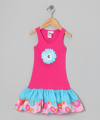 Hot Pink & Light Blue Garden Dress - Toddler & Girls