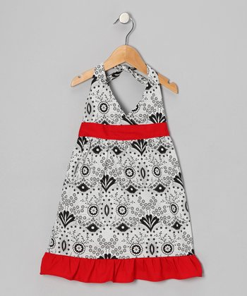 White & Black Daisy Halter Dress - Toddler & Girls