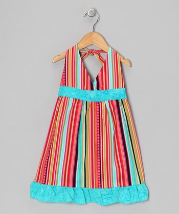 Orange Stripe Halter Dress - Toddler