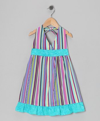Blue Stripe Halter Dress - Toddler