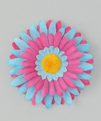 Blue & Hot Pink Flower Clip