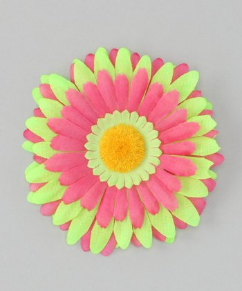 Lime Green & Pink Flower Clip