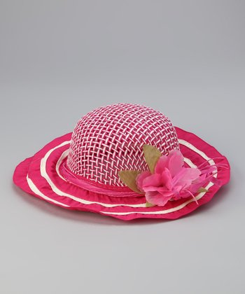 Hot Pink Flower Straw Sunhat