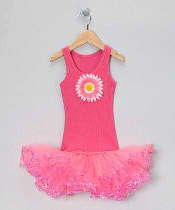 Hot Pink Sunflower Tutu Dress - Toddler & Girls