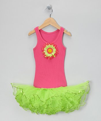 Hot Pink & Lime Sunflower Tutu Dress - Toddler & Girls