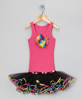 Hot Pink & Black Sunflower Tutu Dress - Toddler & Girls
