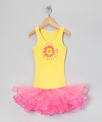 Yellow & Hot Pink Sunflower Tutu Dress - Toddler & Girls