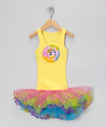 Yellow & Rainbow Sunflower Tutu Dress - Toddler & Girls