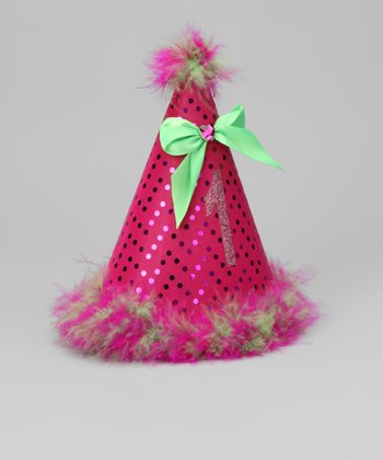 Fuschia & Lime Sequin '1' Party Hat