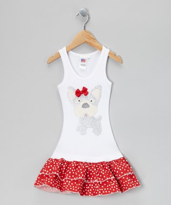White & Red Polka Dot Puppy Drop-Waist Dress - Toddler & Girls