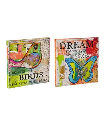 3-D Bird & Butterfly Block Wall Art Set