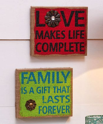 'Family' & 'Love' Wall Art Set