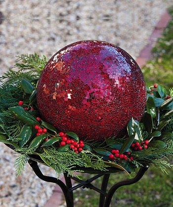 Red Mosaic Glass Gazing Ball