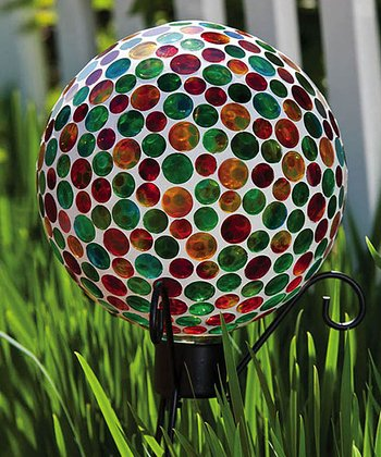 Green & Red Mosaic Glass Gazing Ball
