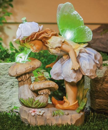 Frog Kisses Petal Fairy Figurine
