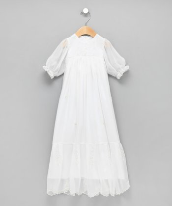 White Hand-Embroidered Flowers Christening Gown