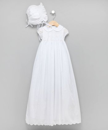 White Peter Pan Collar Christening Gown & Bonnet - Infant
