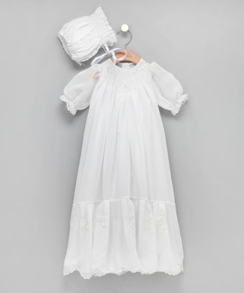 White Bishop Christening Gown & Bonnet