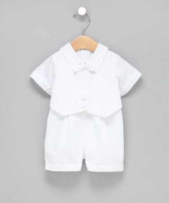 Fantaisie Kids - White Smocked Tuxedo Christening Shorts Set 3T
