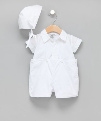 White Hand-Embroidered Christening Shorts Set