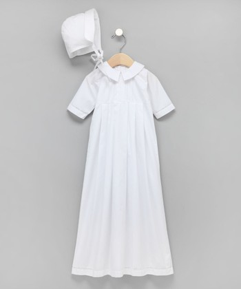 White French-Stitched Boy's Christening Gown & Bonnet
