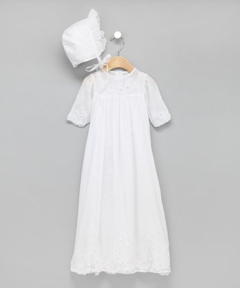 White Hand-Cutwork Christening Gown & Bonnet