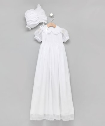 White Hand-Smocked Chiffon Christening Gown & Bonnet
