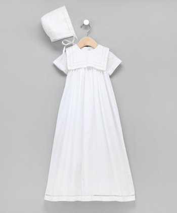 White French-Stitched Square Collar Christening Gown - Infant
