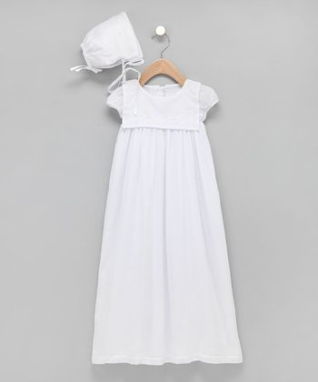 White Square-Collar Christening Gown & Bonnet