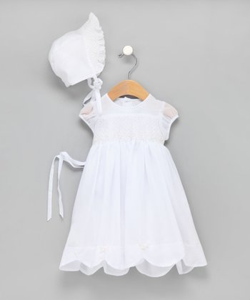 White Hand-Smocked Chiffon Christening Gown & Bonnet 18mo