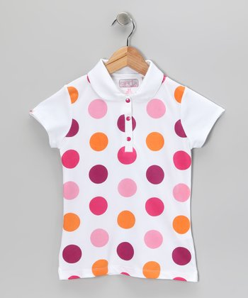 Bright Pink Polka Dot Lucy Polo - Girls