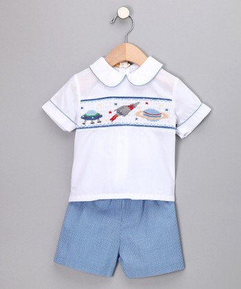 White Spaceship Shirt & Shorts - Infant & Toddler