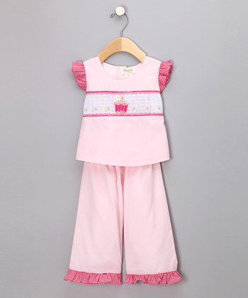 Pink Birthday Cake Angel-Sleeve Top & Pants - Infant & Toddler