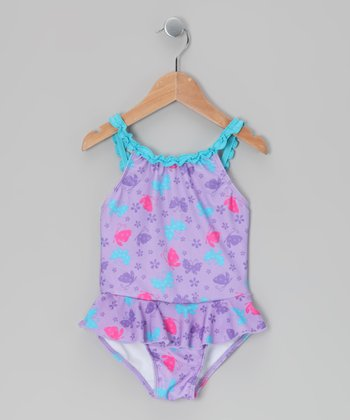 Purple Butterfly One-Piece - Toddler & Girls