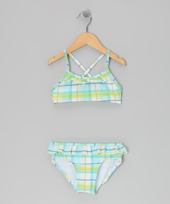 Blue & Yellow Plaid Bikini - Girls