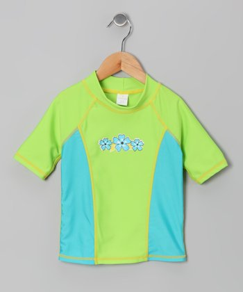 Green Flower Rashguard - Girls