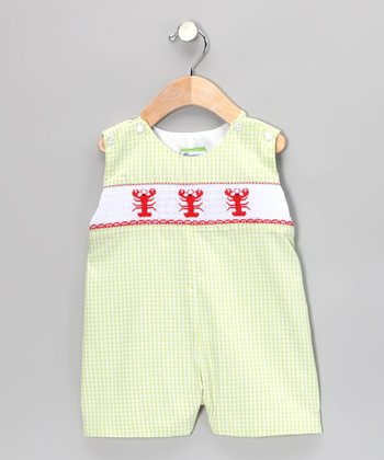 Light Green Gingham Lobster John Johns - Infant