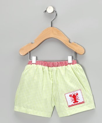 Light Green Gingham Lobster Swim Trunks - Infant