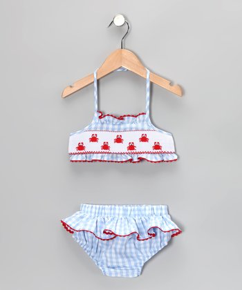 Blue Gingham Crab Skirted Bikini - Infant