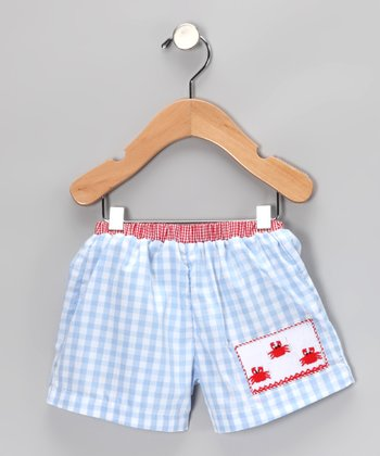 Blue Gingham Crab Swim Trunks - Infant